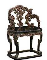 清乾隆·御制漆绘描金福寿纹雕灵芝椅一对